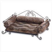 Safari Print Cushion Metal Pet Bed